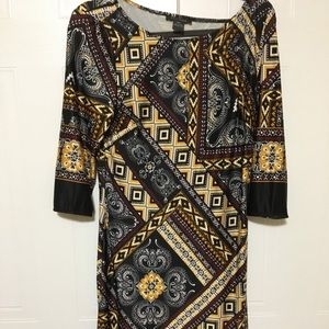 Suzy Shier Tribal-design dress, Medium